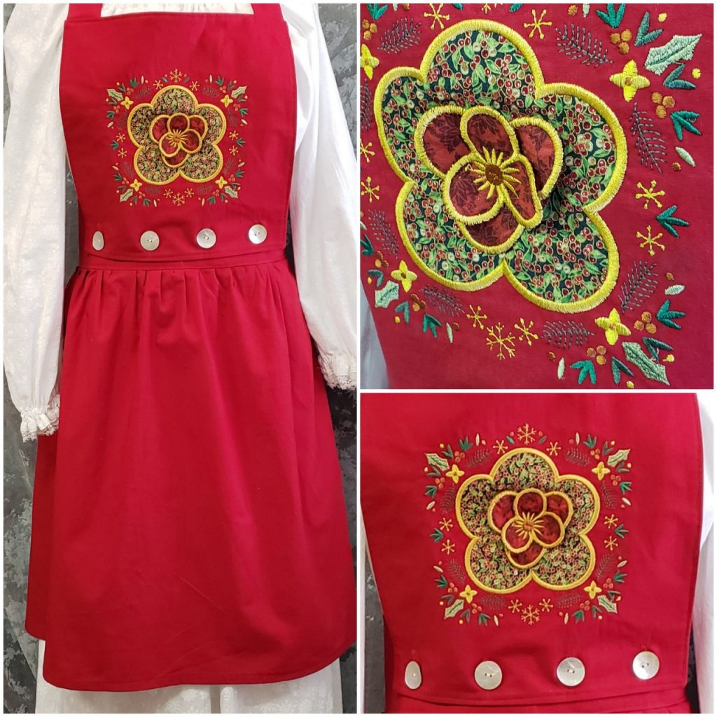 3D Flower Apron on Red with gathered skirt
