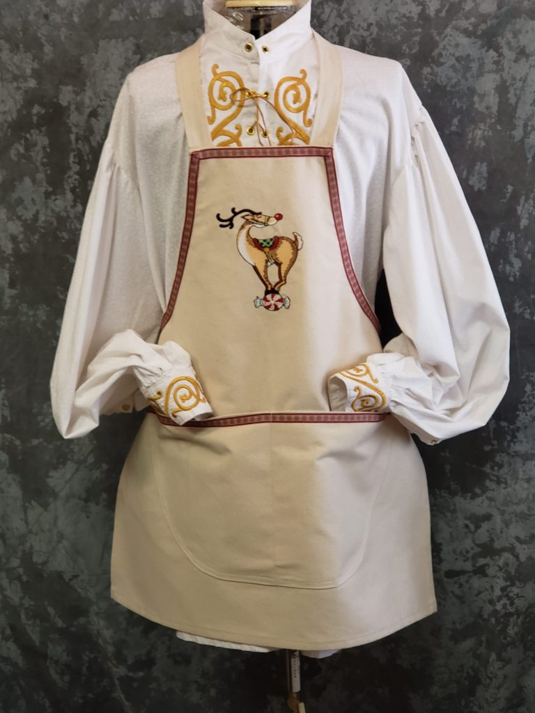 Apron for Santa - Reindeer on Candy on Natural Canvas Apron