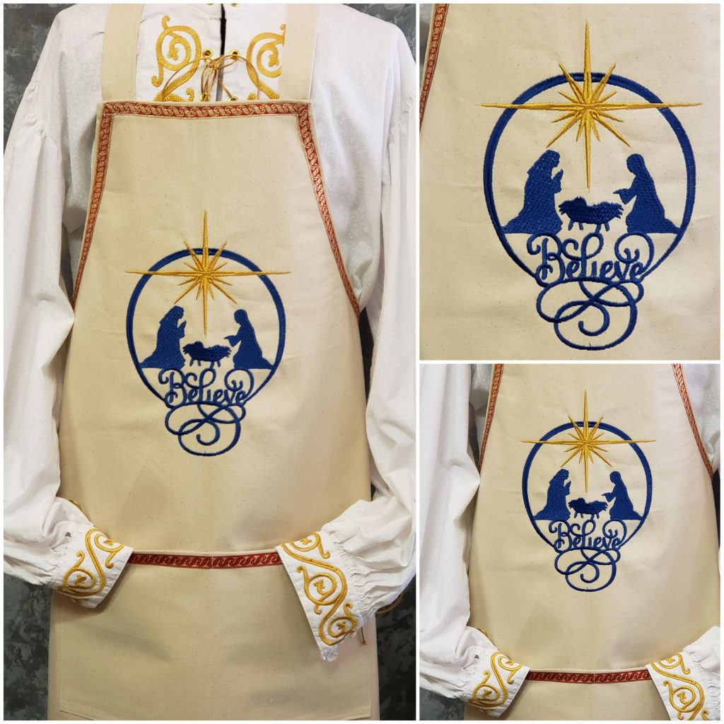 Aprons for Santa - Believe in Blue